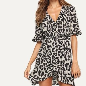 SHEIN Ruffle Trim Surplice Wrap Leopard Dress